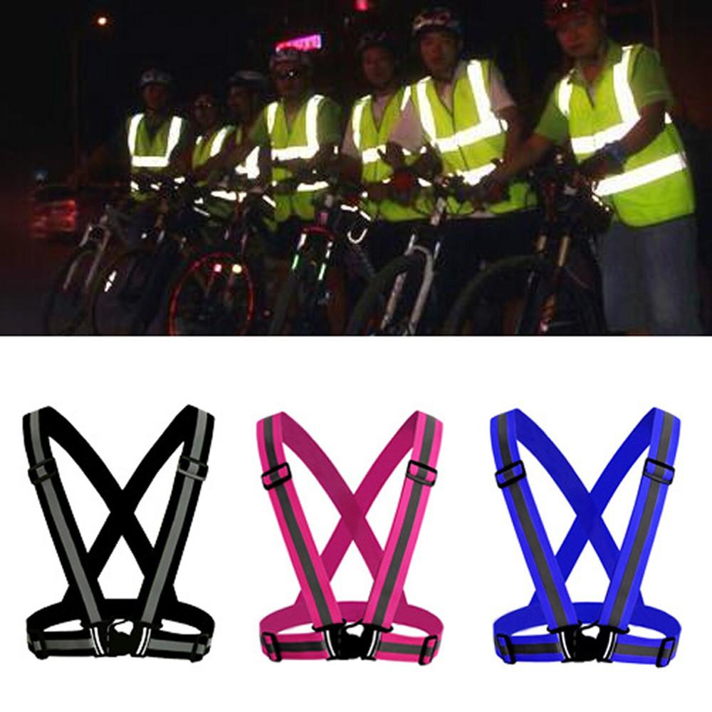 Cycling 1 Pcs Unisex Outdoor Cycling Safety Vest Bike Ribbon Bicycle Light Reflecing Elastic Harness For Night Riding Running Jogging