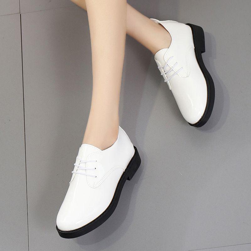 Lace 6654 Mujer Weiß Zapatos Casual Damen Kleid Schuhe Leder Frau Designer Pathant Up Heels Herbst Frühling Oxford Low SzpqUMV