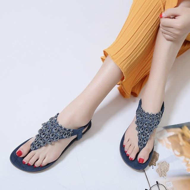 d284f759595 Rhinestone Beaded Flat Thong Sandals Women Bohemia Ethnic Tourist Resort  Beach Rome Women S Shoes. Womens Loafers Bamboo Shoes From Kendymade