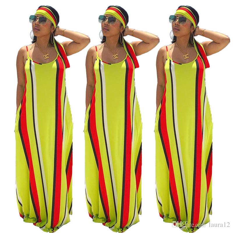 Red and Yellow Stripes Summer Women Casual Holidays Dress with Scarf Sexy Spaghetti Neck Sleevesless A line Loose Maxi Dress 2019 Hot Sale