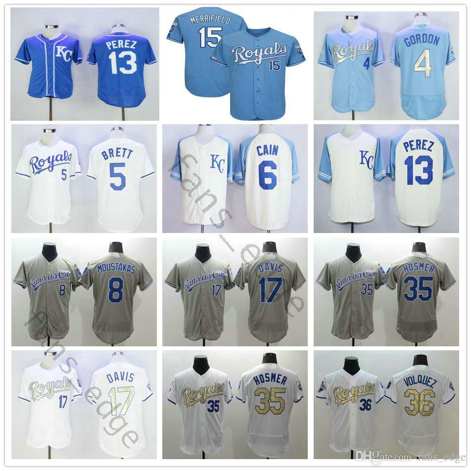 new products f0d2a 068eb Kansas City 4 Alex Gordon Jersey Royals 5 George Brett 16 Bo Jackson 35  Eric Hosmer 15 Whit Merrifield 13 Salvador Perez Baseball Jerseys