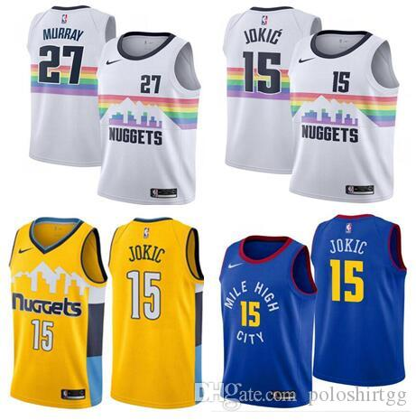 9470873dcd0 2019 City Edition 2019 Men Denver Basketball Nuggets Jerseys 15 Nikola  Jokic 27 Jamal Murray City Edition ALL Stitched Jerseys White From  Poloshirtdd