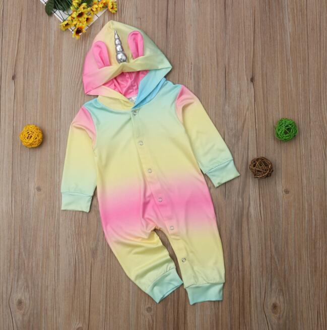 adad0afca Baby Unicorn Romper Newborn Baby Girls Unicorn Multicolor Hooded ...