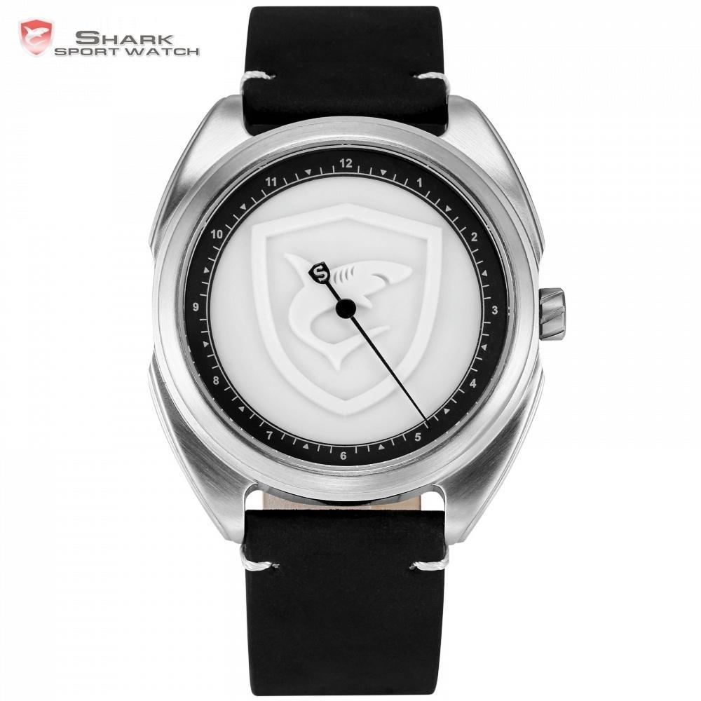 c8229e6eac56 Compre Alfombra De Cuello Tiburón Reloj Deportivo Logotipo 3d Blanco Una  Hora Simple Mano Diseño Correa De Cuero Cuarzo Relojes De Hombre Reloj  Hombre ...