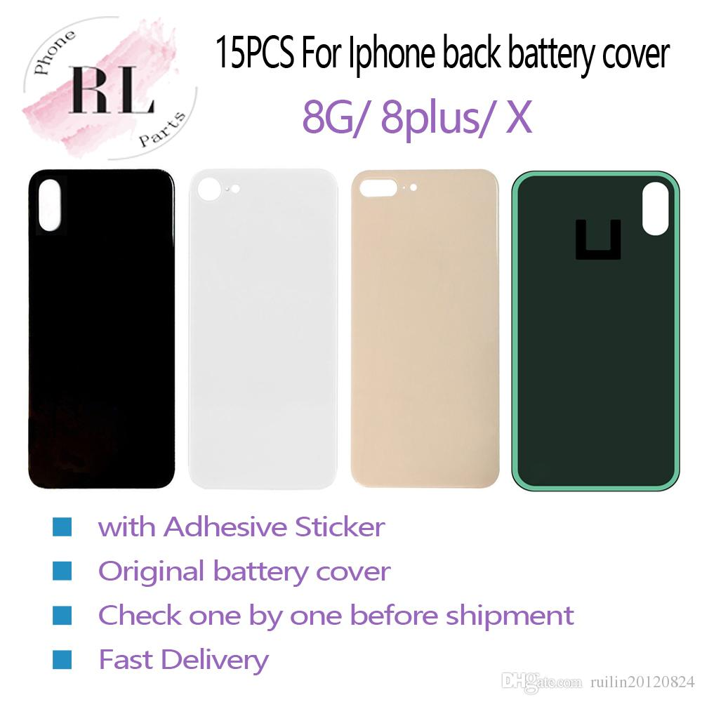 15PCS OEM for iPhone 8 8 plus X battery back cover glass replacement  housing with adhesive