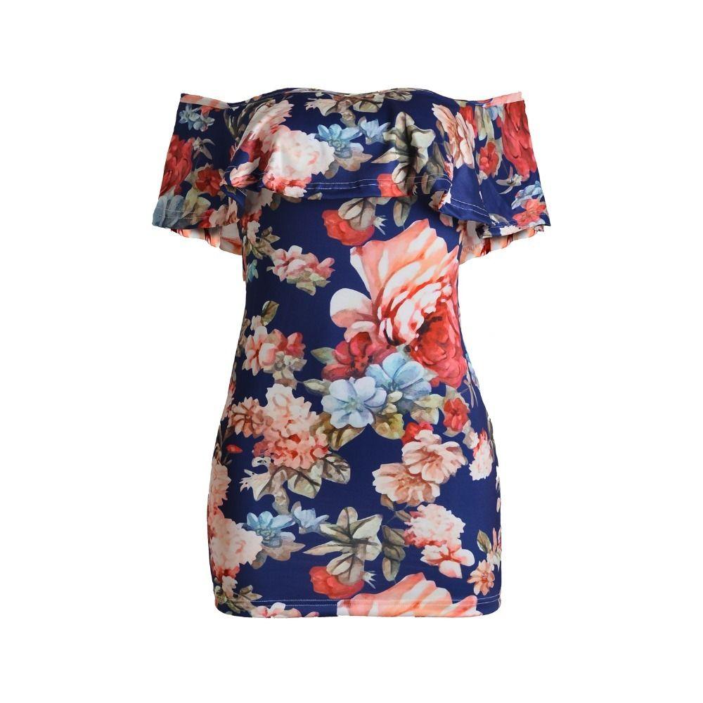 47f554ad21 Summer Dress Women Slash Neck Batwing Sleeve Women Print Flower Off  Shoulder Sexy Elegant Vintage Slim Bodycon Dress Vestidos Online with   40.17 Piece on ...