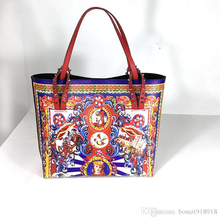4a948b700d3 Compre Lujo Italia Marca Sicilia Estilo Étnico Bolsa De Cuero Mujeres  Sicilianas Shopper Tote Famoso Diseñador Impreso Bolso De Hombro Bolsos  Grandes A ...