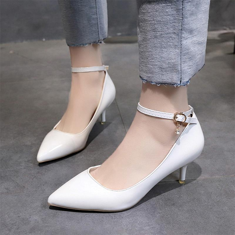 fed59f61c6b4 Designer Dress Shoes Women Wedding Ol Office Medium Heels Ankle Strap Pumps  White Bridal Low Heels Dress Woman Zapatos Mujer N7113 Vegan Shoes Cheap  Heels ...