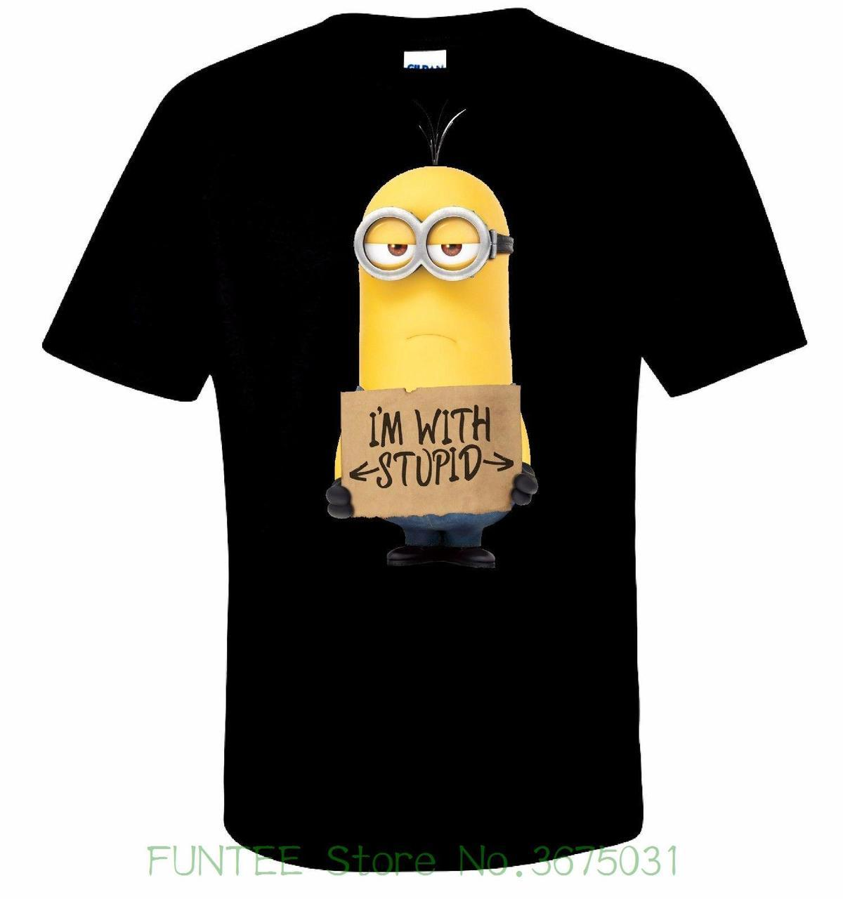 Stupid T Shirts >> Women S Tee Minion I M With Stupid T Shirt 100 Cotton Tee By Bmf Apparel High Quality 100 Cotton
