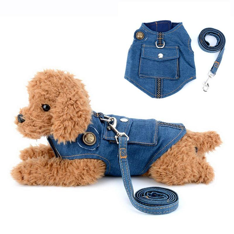 Denim Dog Harness and Leash Jeans Pet Vest Jacket For Small Puppy Dogs Adjustable Pet Puppy Harness Leads Walking Leash for Cats