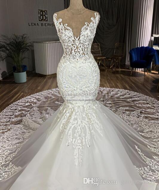 2019 sexy Mermaid Wedding Dresses chapel Train 3D lace Appliques jewel neck gorgeous illusion lace bridal Gowns customized vestidos de novia