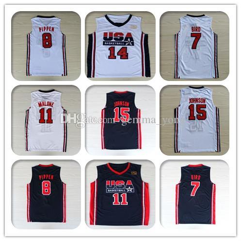 quality design dafa7 42ba0 1992 USA Dream Team One Jerseys Basketball Larry John Bird Stockton Karl  Malone Michael Pippen Ewing Robinson Drexler Johnson Barkley