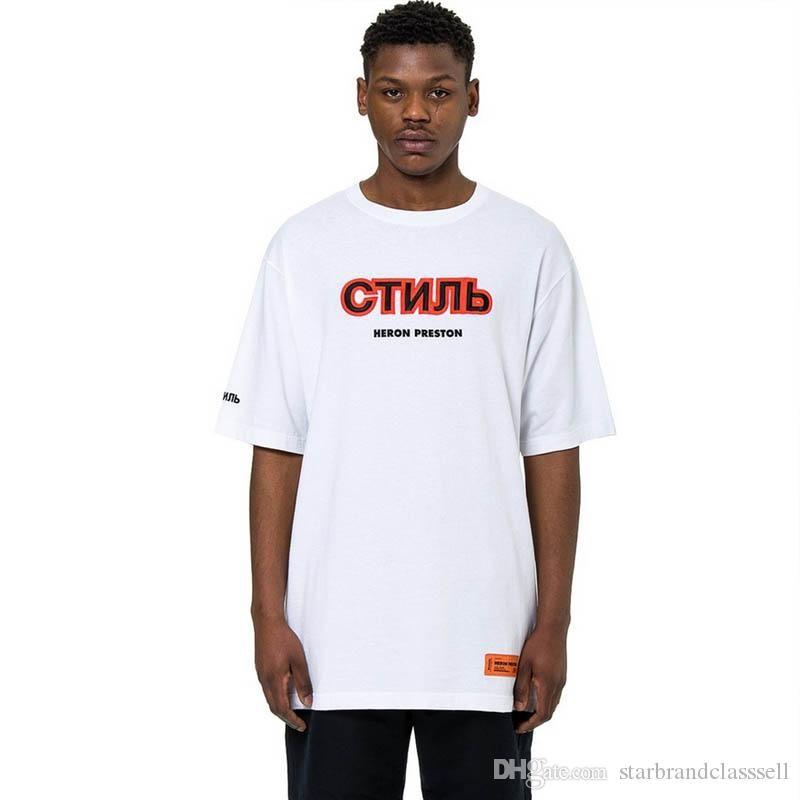 bf20fe691 Mens Designer T Shirts Heron Preston Printed T Shirt Fashion Men Women Hip  Hop Short Sleeve Top Luxury Paris Summer OFF Tee Cool Tshirts Retro T Shirts  From ...