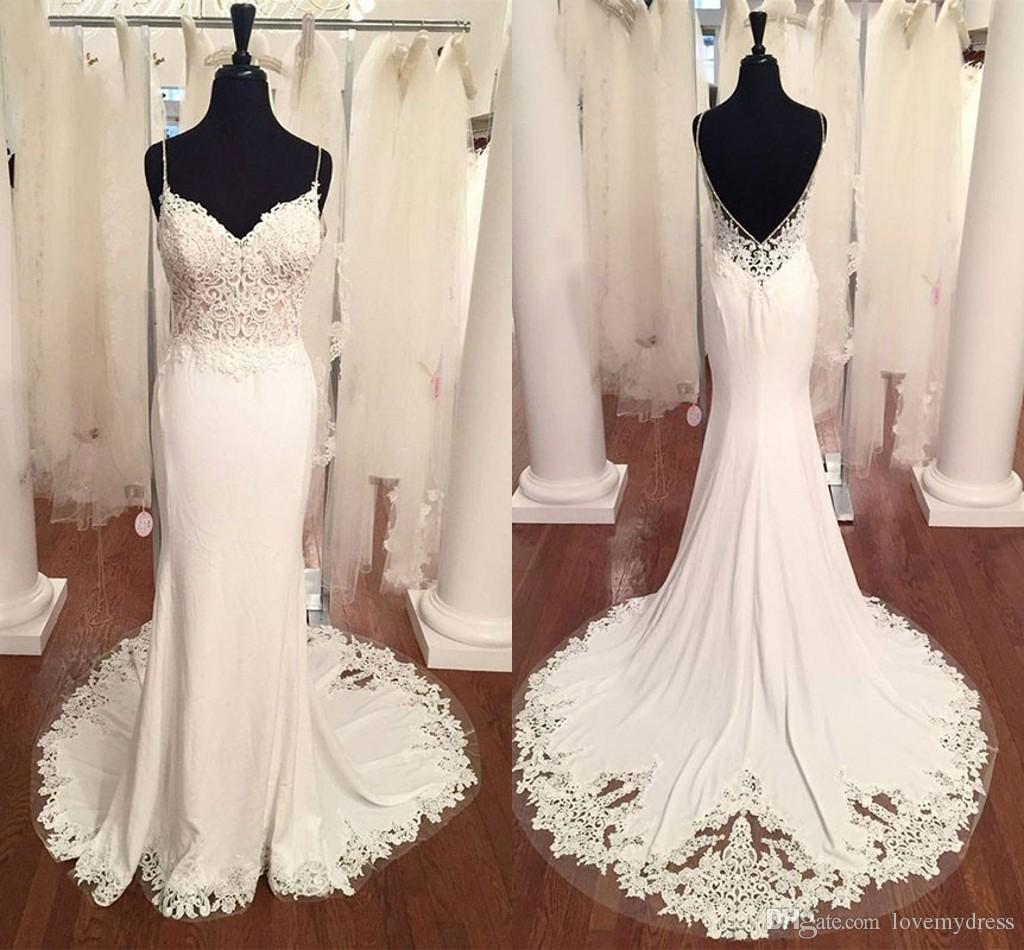 62200255b2 Sexy Beach Wedding Dresses Mermaid Style Spaghetti V Neck Open Back Lace Wedding  Gowns Party Dress For Bride Wedding Guest Dress Bridal Gown Lace Bridal ...