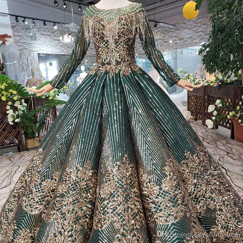 ff62035972aa 2019 Newest Design Dubai Prom Dresses Long Tulle Sleeve Gold Exquisite  Applique Party Gowns O Neck Open Keyhole Back Beaded Evening Gowns Short  White Prom ...