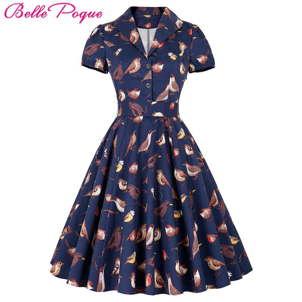 dbbb5f265e4e5 Belle Poque Women Big Swing Dress 2018 Casual Retro Robe Vintage 50s 60s  Bird Print Summer Dresses Womens Clothing Elegant Tunic Y190410