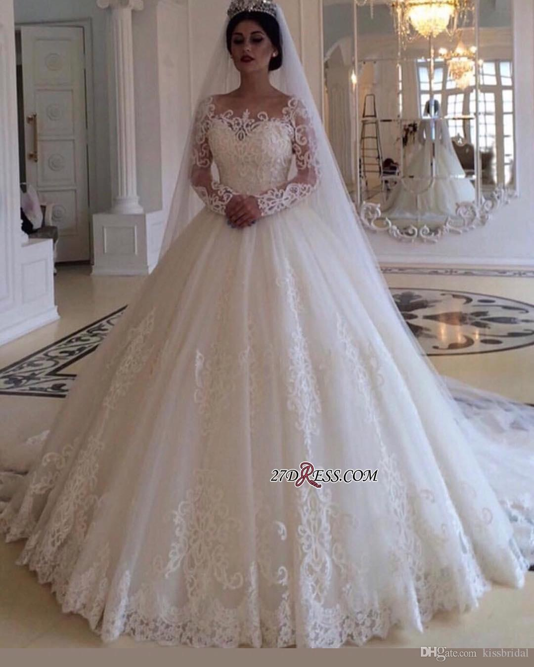 Bridal Dresses 2019: Long Sleeve Lace Wedding Dresses 2019 Elegant Ball Gown