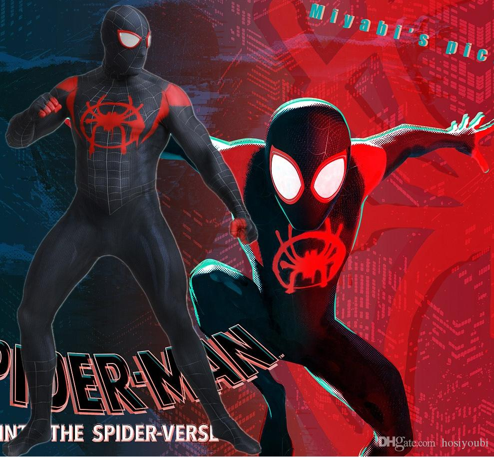 Spider-Man Into the Spider-Verse Black Spiderman Cosplay Costume Superhero  Costume SuperMan Zentai Suit Hood Separated