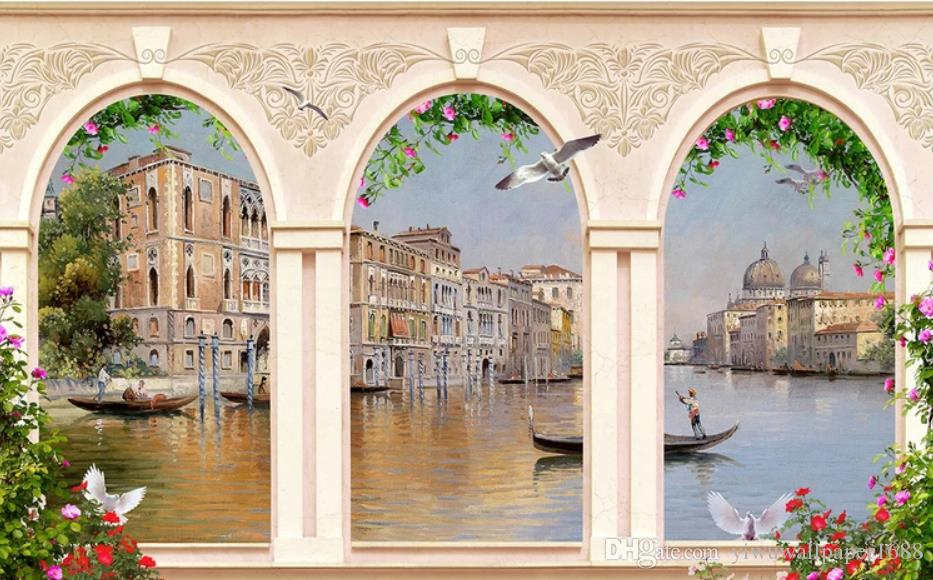 modern wallpaper for living room European Roman column architecture oil painting water city TV background wal