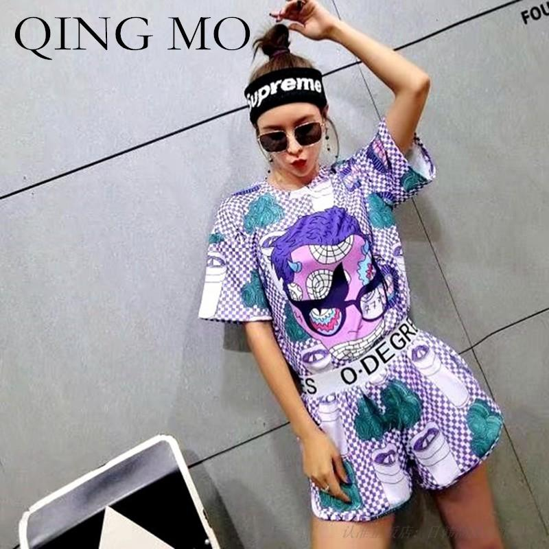 QING MO Summer Women Cartoon Twinset Stampa Viola Allentato Confortevole Personalità Sport Style Fashion Leisure Suit donna QF369