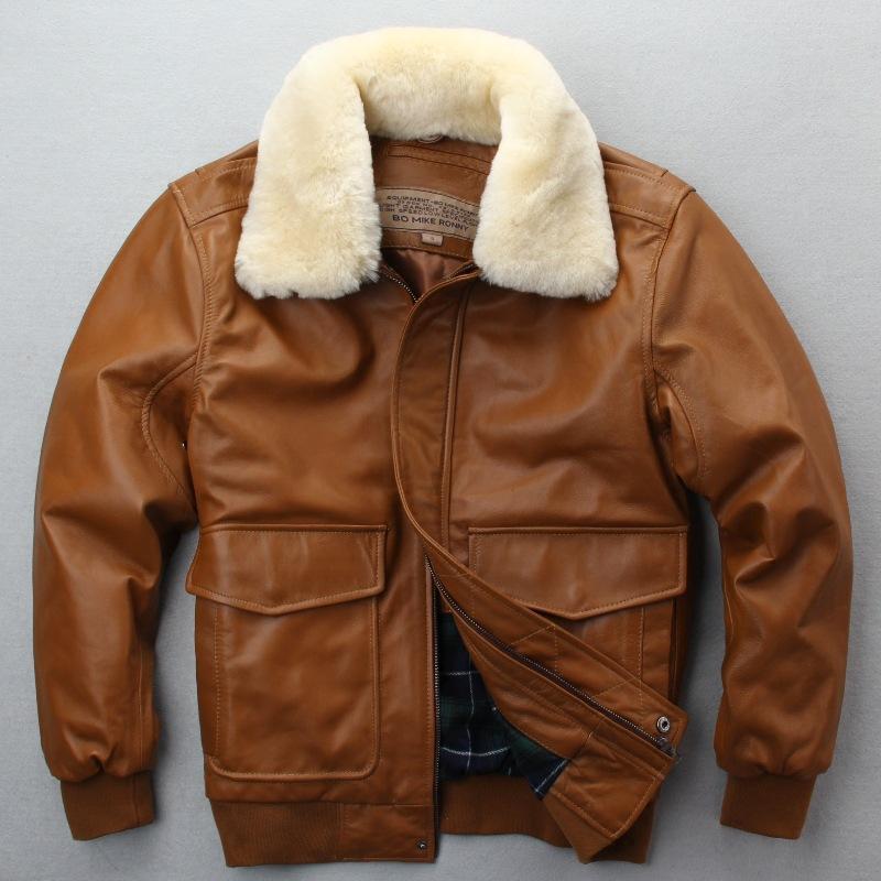 381e058671f 2019 Avirex Fly Flight Jacket Fur Collar Genuine Leather Jacket Men Winter  Dark Brown Sheepskin Coat Pilot Bomber From Lemon888
