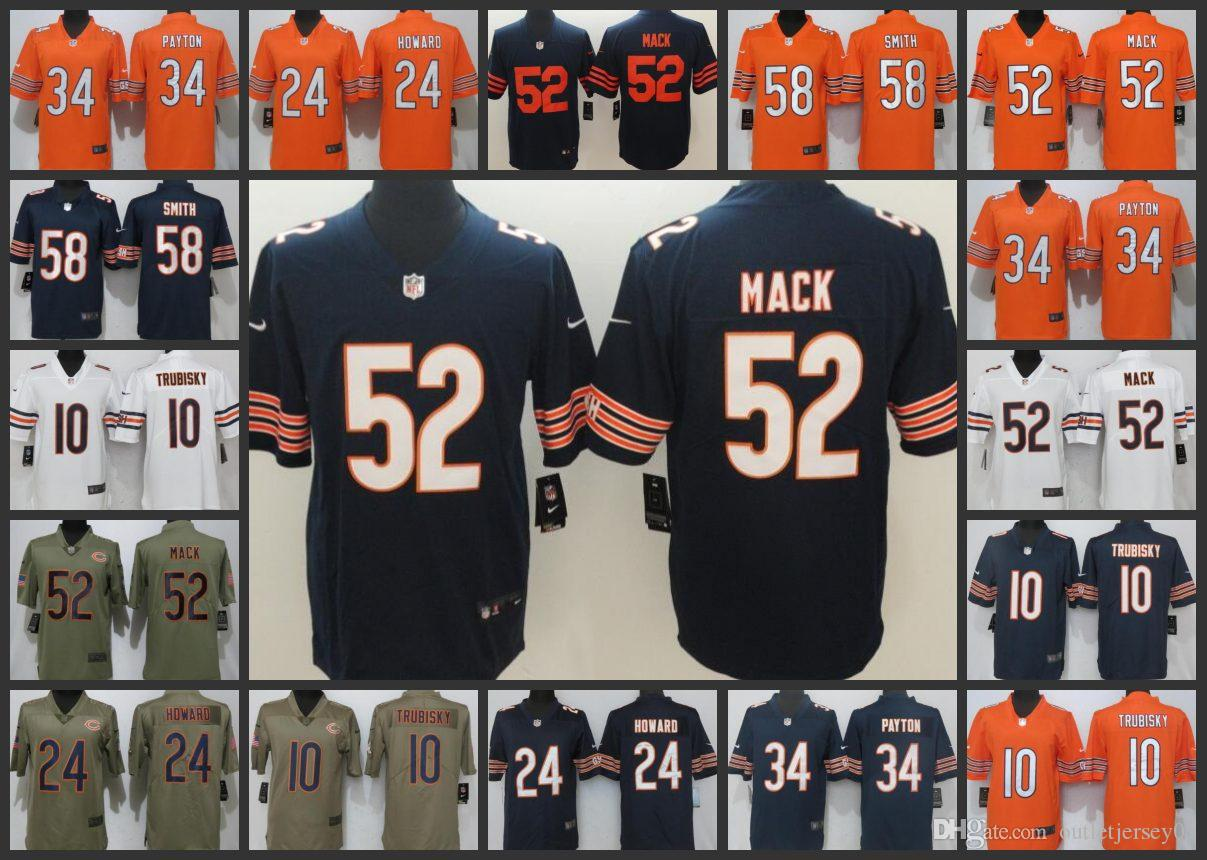 sports shoes 04eb4 7a6a5 Chicago Bears Playey Jersey Men #10 Mitchell Trubisky 52 Khalil Mack 24  Howard 58 Roquan Smith Women Youth Limited Jerseys
