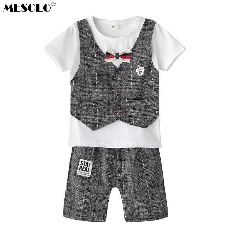 good quality The new 2019 spring and summer boy tie off 2 children suit jacket grid gentleman bow a generation