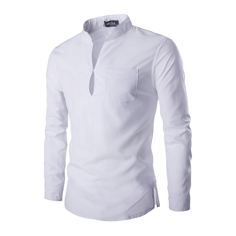 Men Shirt White Stand Collar 2019 Spring Cotton Casual Shirt Men Slim Fit  Youth Social Dress Long Sleeve Camisa Masculina UK 2019 From Workwell 0e774e52c