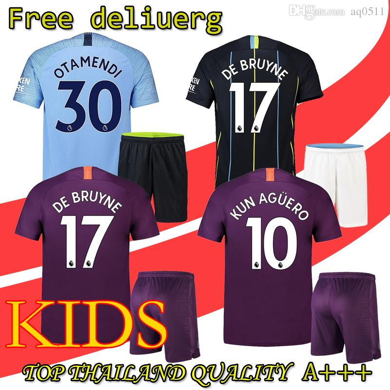 18 19 Man City Soccer Jersey Home Kids Kit 2019 City Away DZEKO KUN AGUERO  KOMPANY TOURE YAYA DE BRUYNE Child Football Jersys UK 2019 From Aq0511 e12950290