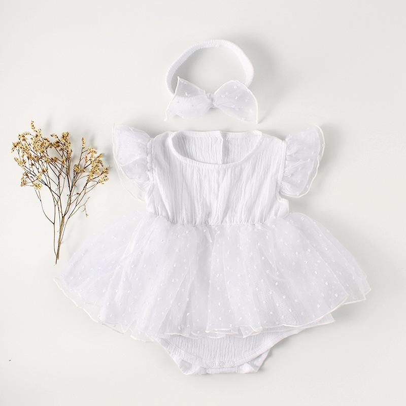 841e8df37bb 2019 Summer Baby Girl Clothes Girl Princess White Lace Romper Newborn Fly  Sleeve Jumpsuit With Bow Headband Outfits Infant Clothing From Textgoods08