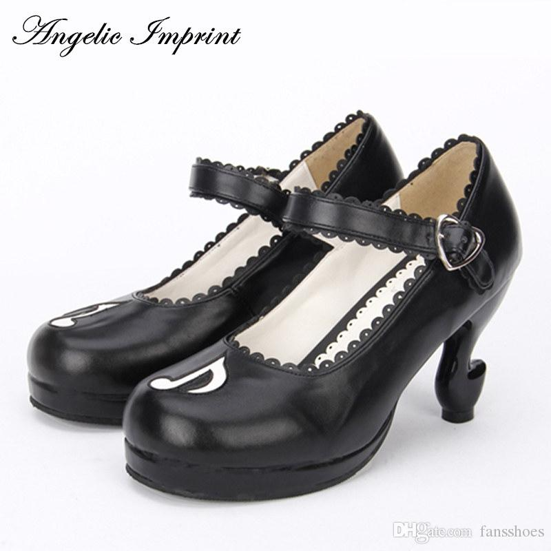 dc48ae8a6d47b Personality Musical Note Fantasy High Heels Pumps Lolita Shoes Princess  Girl Mary Jane Shoes #9747