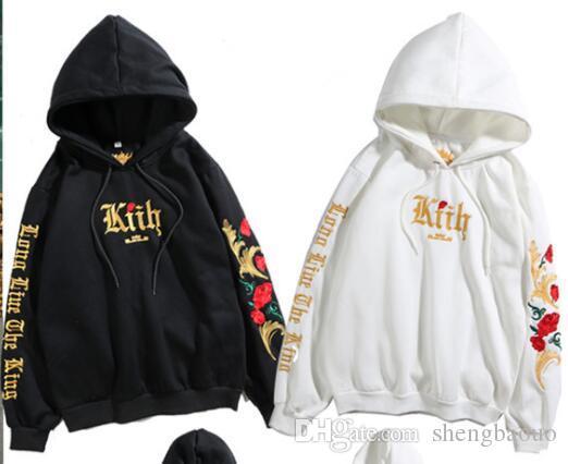 5cefd50b059 Hip Hop Fashion Hoody Sweatshirts Hooded Pullover Long Sleeve kith Jumper  Tops Men Women Kanye West Hoodies