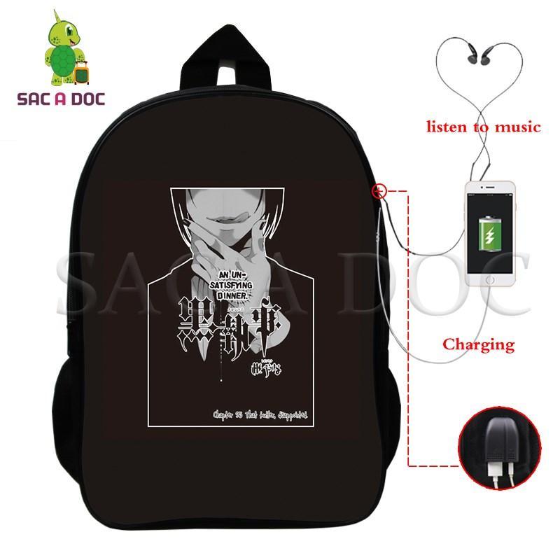 81de0ab24032 Anime Black Butler Ciel Sebastian Multifunction Backpack Women Men USB  Charging Laptop Backpack Large School Travel Bags Backpacks Cheap Backpacks  Anime ...