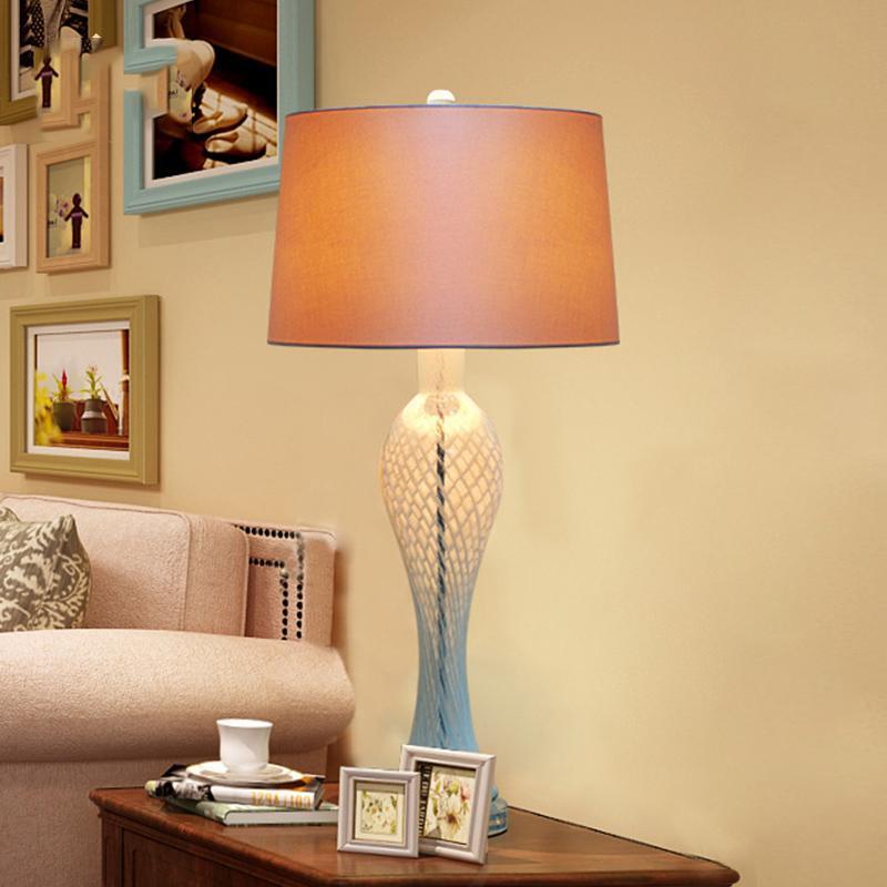 Modern K9 Crystal Bedroom Table Lamp Blue Curve Glass Living Room  Decoration Abajur Table lamp For Bedroom Lamparas De Mesa