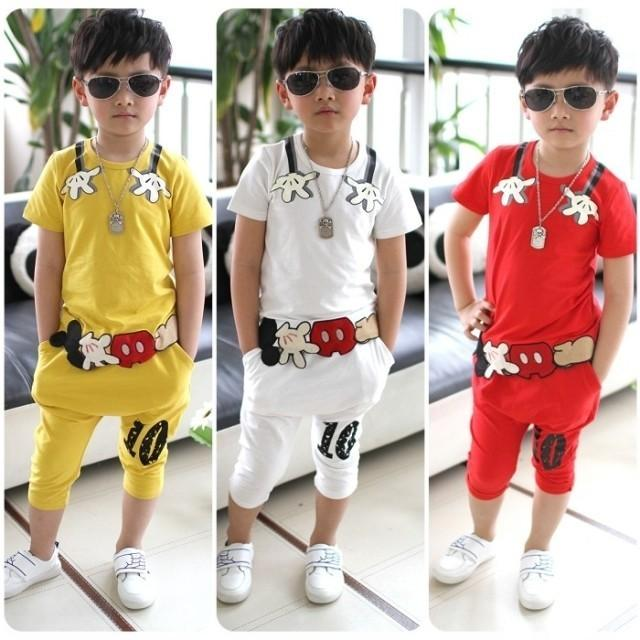 100% cotton summer Character short sleeve children clothes kid baby boy clothing set red yellow white suit 2-9Ages