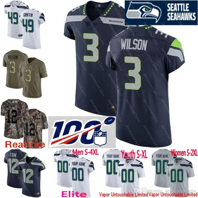 huge selection of 730c6 6d632 100th anniversary custom Men youth women Seattle Shaquem Griffin Russell  Wilson Michael Dickson Shaquill Camo Seahawks Elite Jersey 01