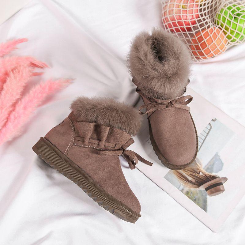b675c71030304 2019 Shoes Women Suede Rabbit Fur Winter Snow Boots Female Pleated Plush  Lining Warm Platform Felt Ankle Boots Booties