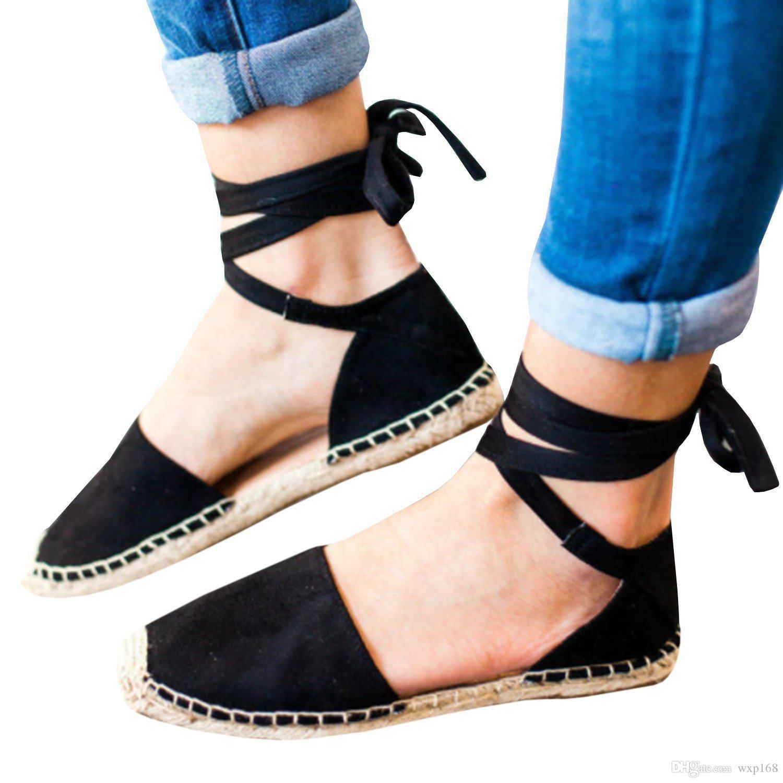 Sandales Plate Femme Paille La Forme 2019 Sangle Pêcheur Appartements Chaussures Cheville Mules À Lacets Romaines Orteils Femmes Rond Plus 9eIYEDWH2b