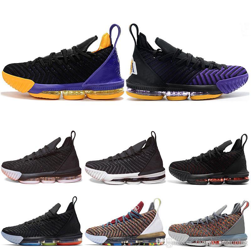 huge discount 062a3 fa3bc Acquista Lebron James Scarpe Da Pallacanestro Da Uomo 16 WHAT THE KING I  Promise Court Viola Triple Nero Lakers Fresh Bred Oreo 16s Sport Da Uomo  Sneakers 7 ...