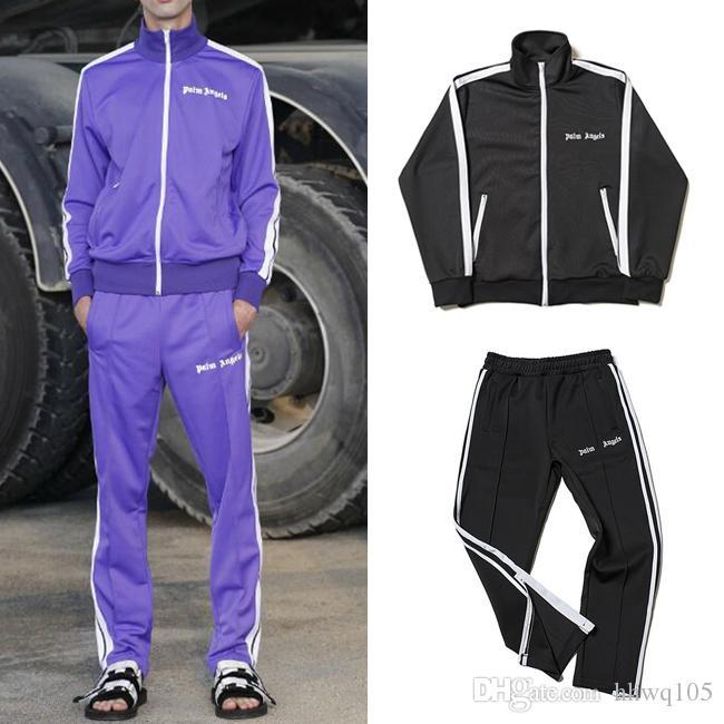 ab19e7938964 2019 New Palm Angels Tracksuit Men Women Vintage Sports Sweatsuit Fashion  Side Stripe Jacket And Pants Sportswear Jogging Gym Sweat Suits PXG1025  From ...