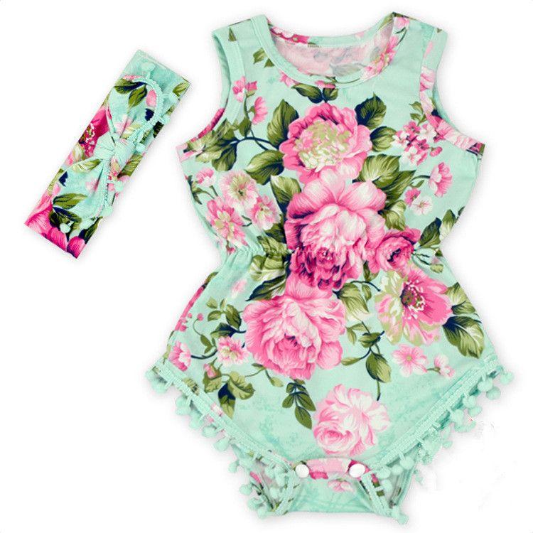 4d5457cb1 2019 2019 New Pretty Summer Flower Pom Child Rosy Floral Romper Baby ...
