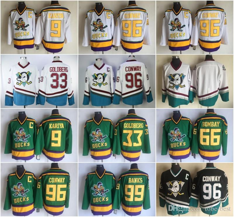 2019 Mighty Ducks Movie Jersey  96 Charlie Conway Jersey 9 Paul Kariya 33  Greg Goldberg 66 Gordon Bombay 99 Adam Banks Stitched Anaheim White From  Tobe Best ... 57efabb8e