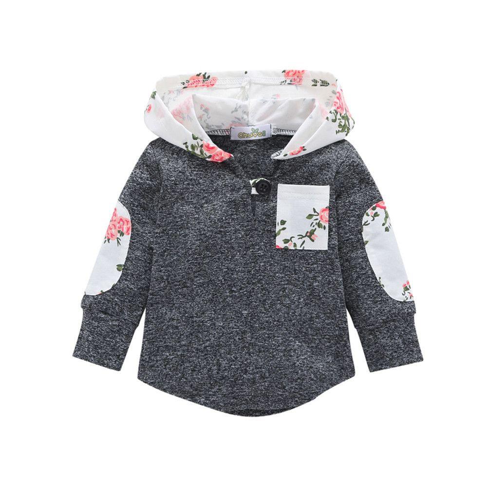 92432451605c good quality 2019 Winter Clothes baby Warm coat Floral Hoodie Pocket  Sweatshirt veste enfant fille manteau garcon veste enfant fille