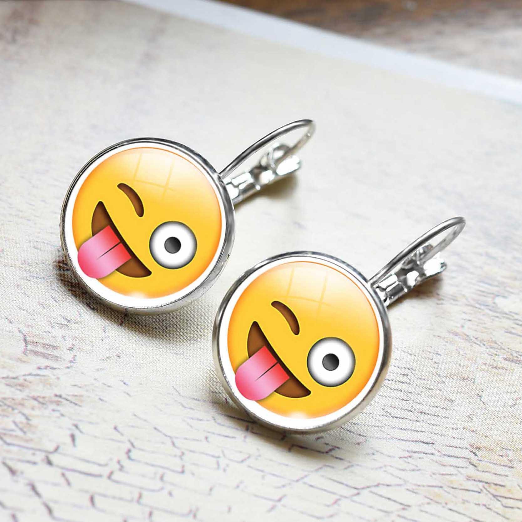 LIEBE ENGEL Nette Schmuck Ohrstecker Emoji Bild Emoticons Glas Cabochon Ohrringe Für Frauen Silber Farbe Zubehör Mode