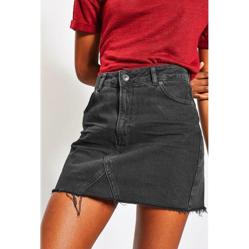 0371960c43f 2019 Women Summer Black Casual High Waist A Line Mini Skirts Denim Skirts  High Street Pockets Button All Matched Saias Jeans Skirt From Berniee