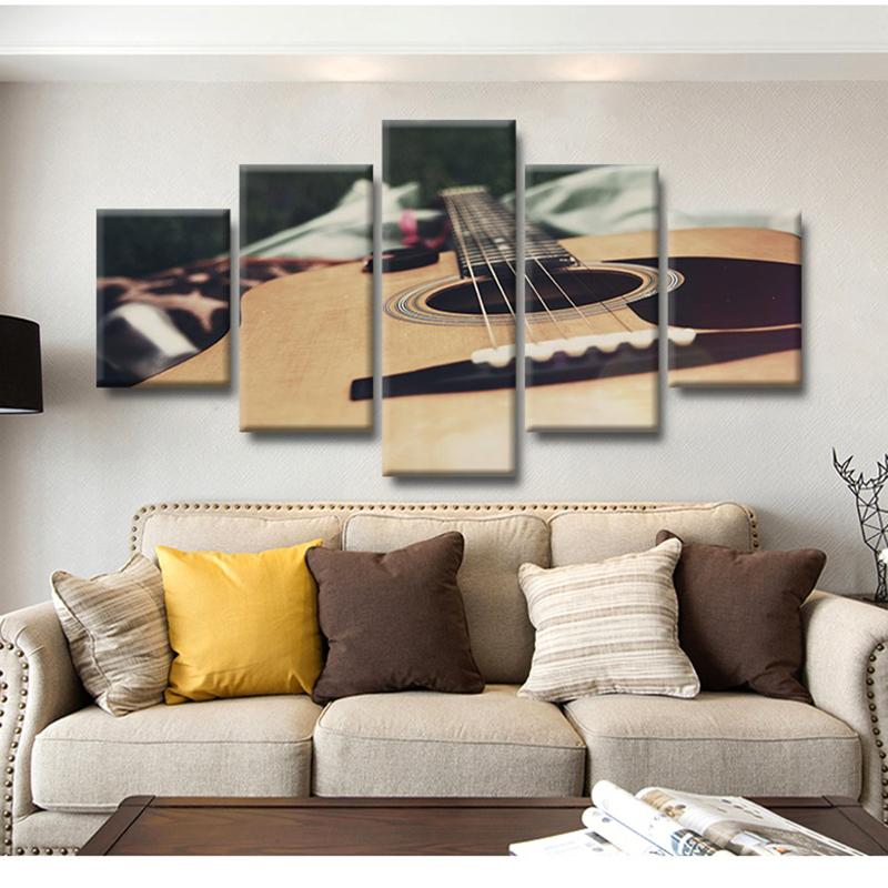 Modern New Classics Canvas Painting Poster 5 Panel Guitar Music Prints Wall Art Modular Pictures Bedroom Home Decor Quotes Frame