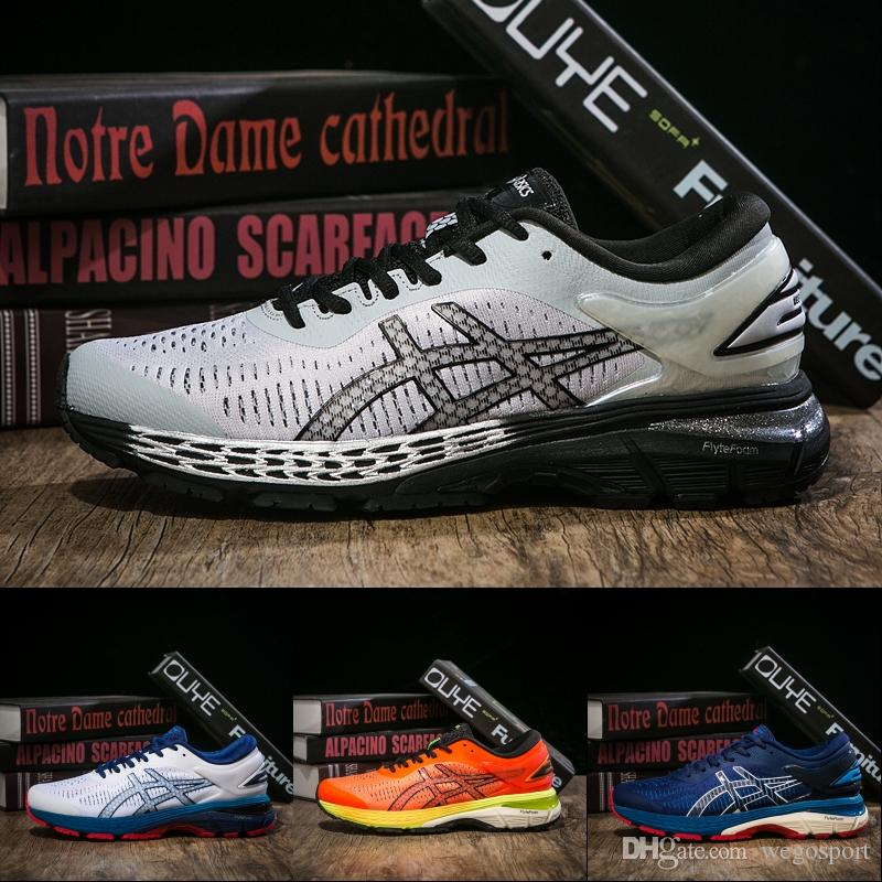 brand new ffccd 53b09 ASICS New GEL KAYANO 25 Running Shoes For Men Balck White Dark Green  Designer Shoes Best Quality Sport Sneakers US 7.5-11