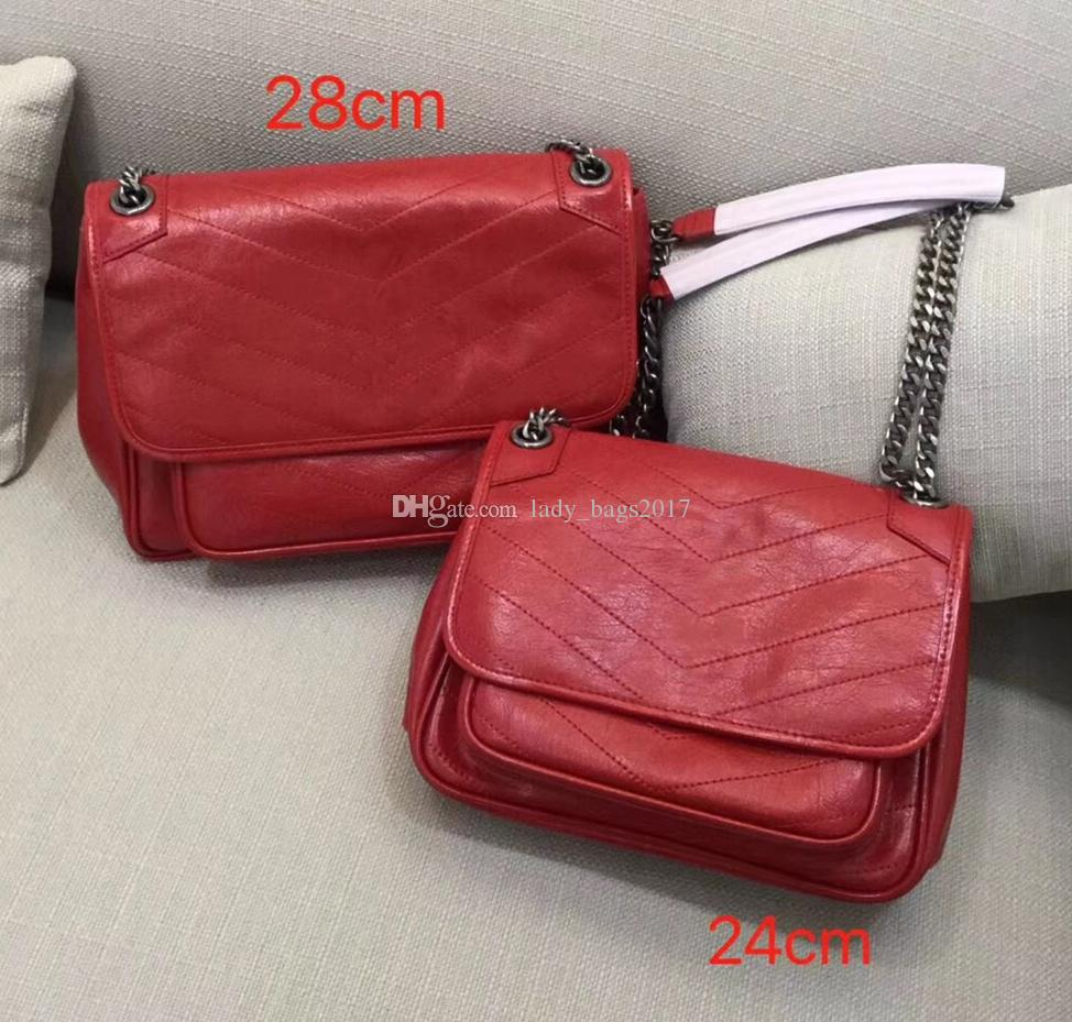 Luxury Classic Top Quality V Wave Pattern Flap Chain Bag Oil Wax Real Leather Shoulder Handbag Designer Bags Crossbody Purse Messenger bag