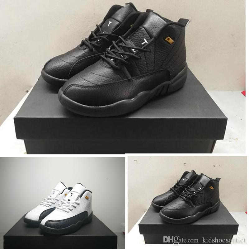 size 40 c0594 ea84b 2019 New 12s Kids Basketball shoes Black White Gold Infant Boys Girls  Trainers Outdoor Athletic Children Sneakers With box