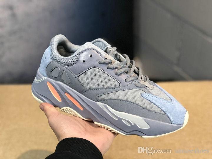 buy online 4630f 70d9b Nuevo YUNG Kanye West 700 Inertia Wave Runner EG7597 Hombres Mujeres  Aumentar Los Zapatos Desginer Negro Blanco Naranja Zapatillas Deportivas 36  45 Por ...